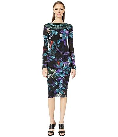 FUZZI Long Sleeve Knit Neck Details Dress in Leaf Print (Nero) Women