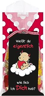 Fruchtgummi LIEBE ENGEL & TEUFEL STEINBECK 100g Weißt du eigentlich wie lieb ich Dich hab Geschenk Valentinstag love Herzen rot Liebe süß Mitgebsel Jahrestag