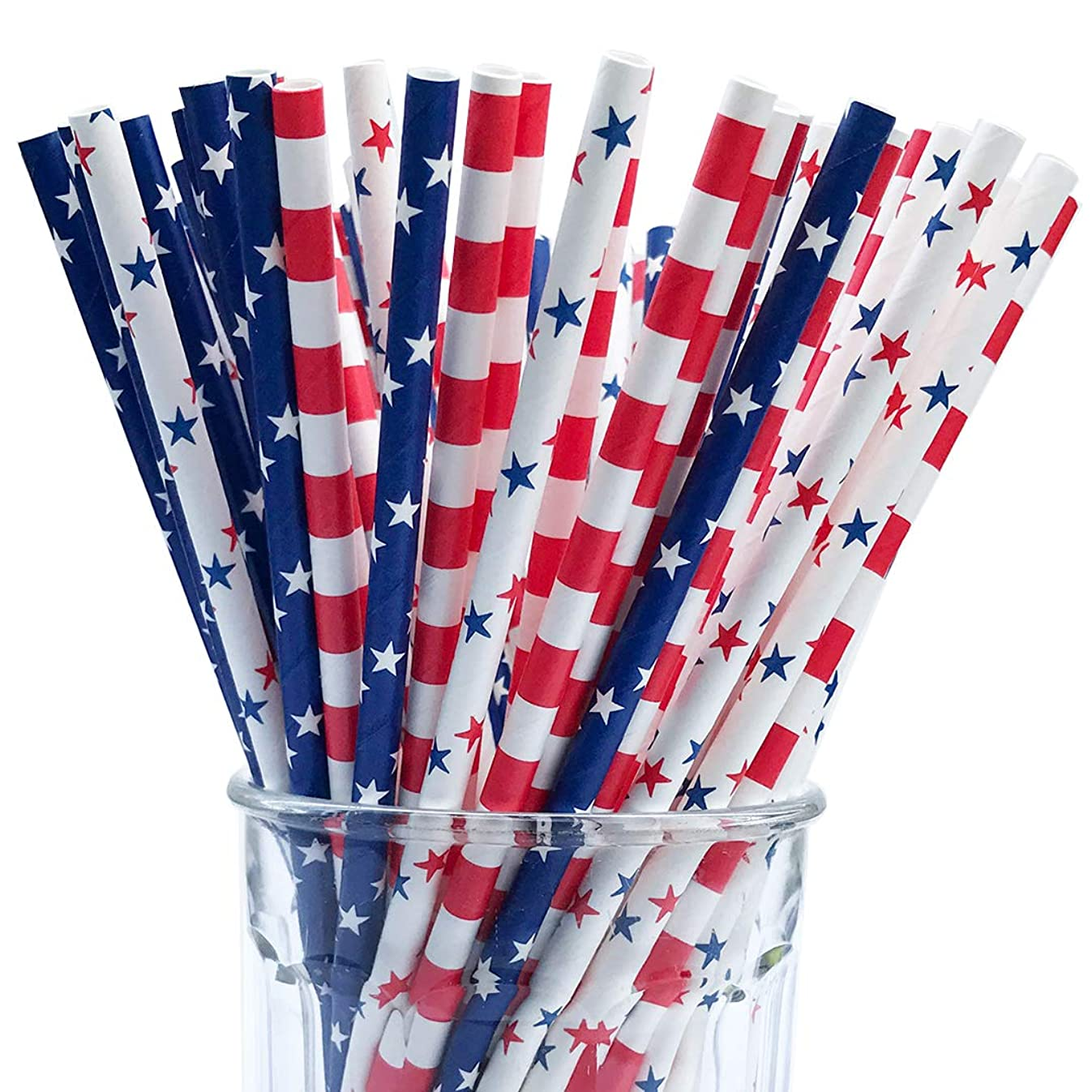 150 American Flag Red White Blue Paper Straw Combo, 3 Designs - 100% Biodegradable - 7.75 Inches - Memorial day and 4th of July Celebration Supply - 150 Straws, 3 Patterns Individually Packed