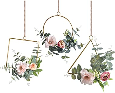 Romase Set of 3 Artificial Floral Hoop Wreaths - Handmade Garland with Pink Clematis and Tea Rose Flowers Adorned with Green Eucalyptus Leaves for Wedding Backdrop Wall Decor