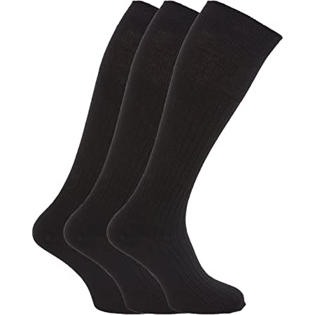 6 Pairs Mens Ribbed Long Hose 100% Cotton Soft Top Socks/UK 6-11