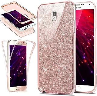SainCat Funda Galaxy Note 4, Lujo Elegante Glitter y Brillante Brillo Carcasa Anti-Golpes 360 Grados Todo Incluido Carcasa 3 en 1 TPU del Ultra Delgada Transparente Funda para Samsung Note 4-Rosa