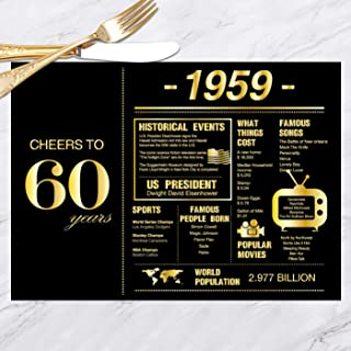 60th Birthday Placemats Decorations for Women or Men | 1959 Sign | 60th Anniversary Decorations | 60 Years Wedding Anniversary Decorations | Sixty Party Table Decorations | Set of 30