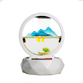 crapelles Tabletop Waterfall Mountains Lake Indoor Ceramic and Glass Spring Cascading Water Illuminated Fountain with LED Light Show