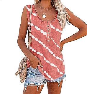 Dames bedrukt mouwloos vest T-shirt Top