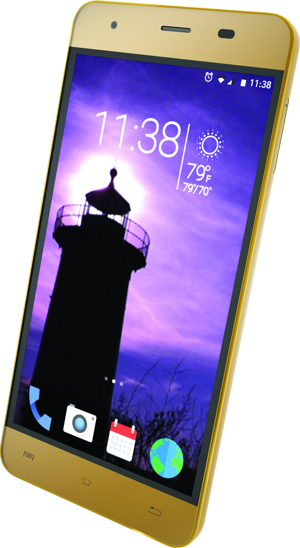"Slide Unlocked Dual SIM Smartphone 5"" IPS Display 4G LTE GSM 13MP Camera Quad core 1.3GHz Processor, Gold"