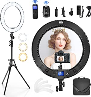 PIXEL 19 inch Ring Light Kit, 60W LED Ring Light with LCD Screen, Support 2.4G Remote and Multiple Lights Control, CRI>97, 3000K-5800K, Tripod Included for Makeup, YouTube Video, Barber, Tiktok Live