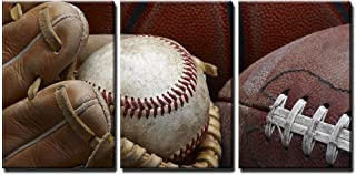 wall26 - 3 Piece Canvas Wall Art - Close Up Shot of Well Worn Baseball in Baseball Glove, Football and Basketball - Modern Home Decor Stretched and Framed Ready to Hang - 24