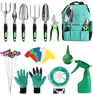 13 Pieces Garden Tools Set, Luckits Garden Hand Tools Set Aluminum Gardening Tools Kit with with Garden Kits Gloves and St...