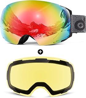 PELLOR Skibrille Snowboardbrille Damen Herren Winddicht Austauschbare Sph/ärische Polarisiert Motorrad Skaten Skifahren Mit Sehst/ärke OTG UV-Schutz Anti-Fog