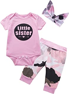 Baby Girls' Little Sister 3PCS Outfit Set Short Sleeve Bodysuit Camouflage Pants and Headband