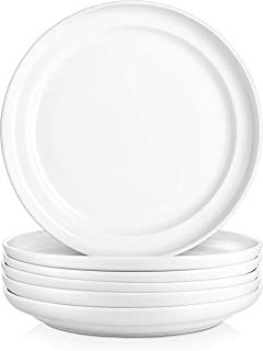 DOWAN 10 Inches Porcelain Dinner Plates, Large Elegant Serving Plate Set for Salad and Pasta, White, Set of 6