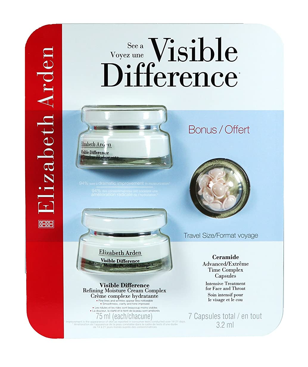 アーティキュレーション否認する蒸気Elizabeth Arden Visible Difference Refining Moisture Cream Complex Double Value Pack (2 x 2.5oz) With BONUS Travel Size Ceramide Advanced/Extreme Time Complex Capsules