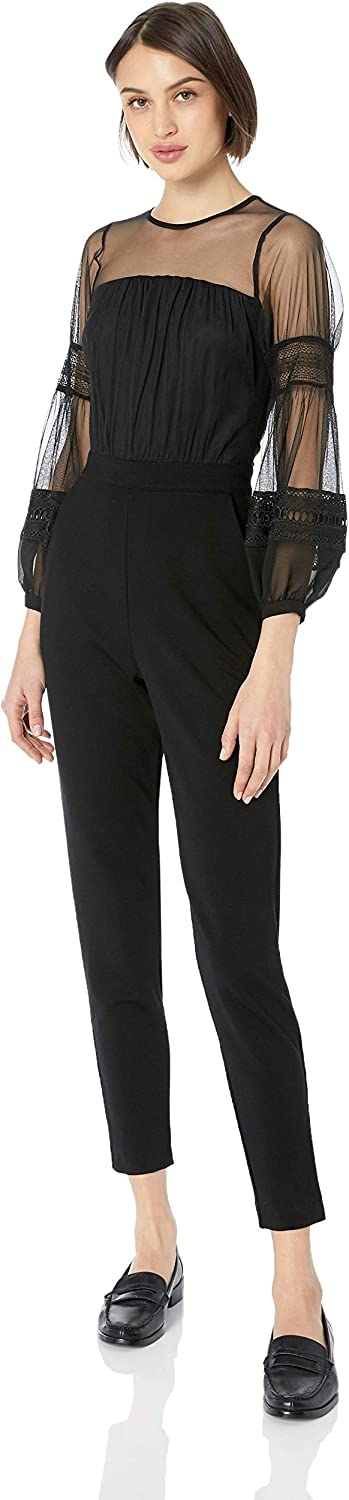 French Connection Women's Black Lace and L free Long-awaited Sheer Fitted Straight