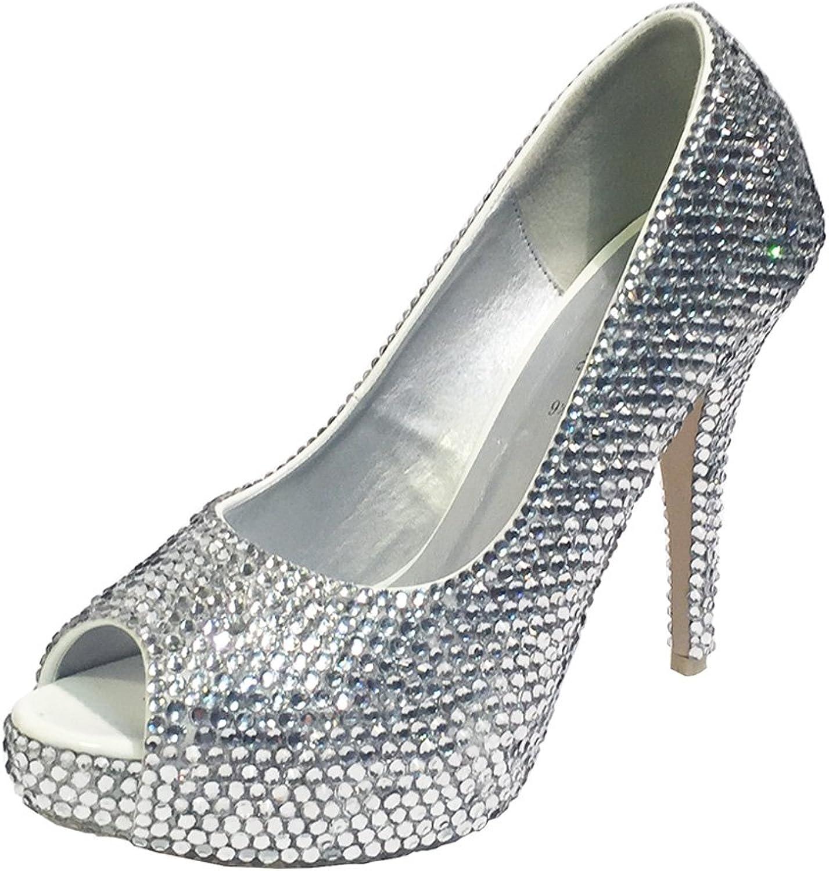 Marc Defang New York Women's Bridal Clear Crystal Essential Heels