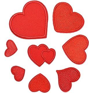 SUPVOX 8Pz Forma Cuore Patch Toppe Termoadesive Applique Cucire per Jeans Vestiti Panno (Rosso)
