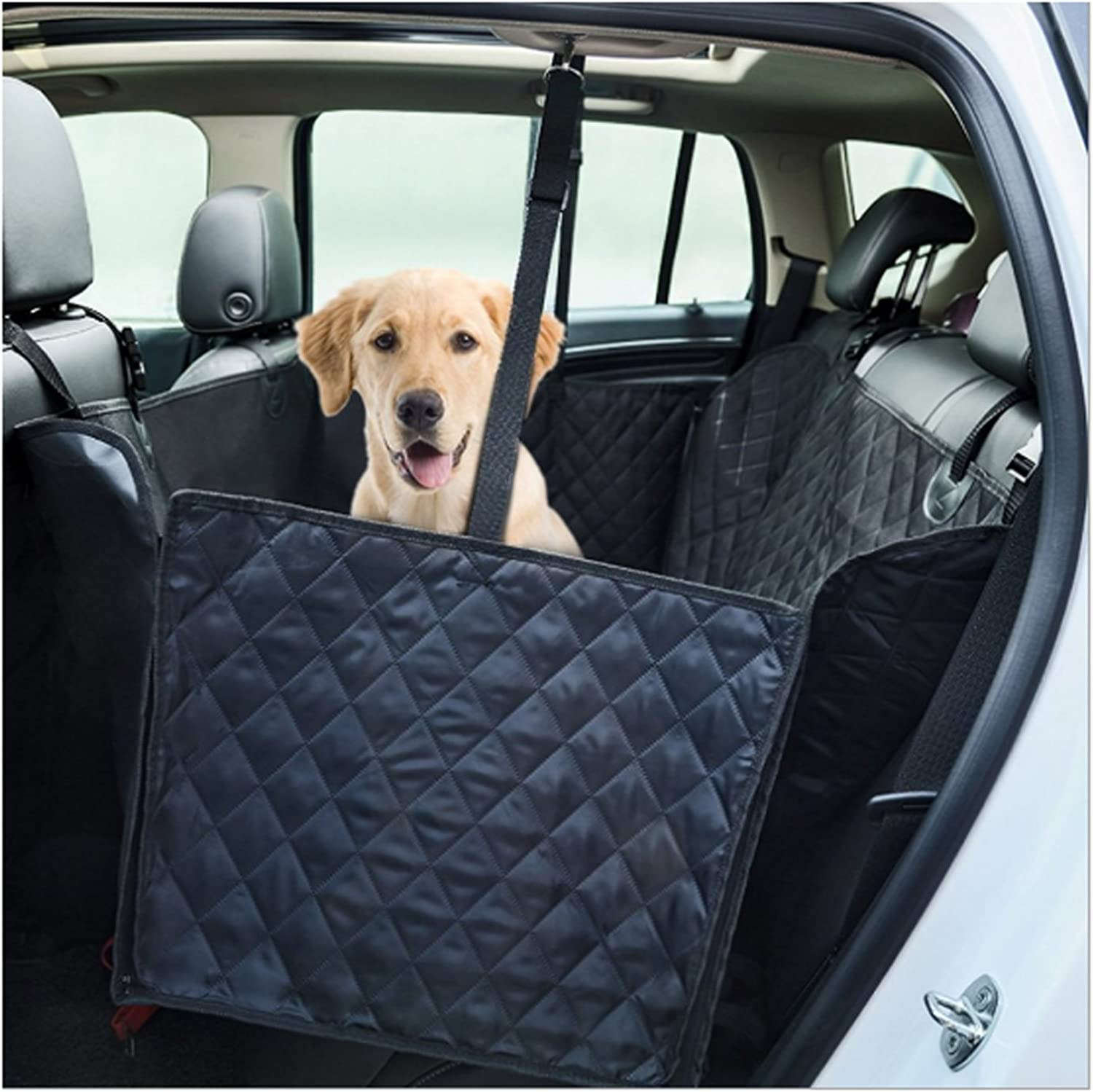 Black Manba Nonslip Durable Dog Seat Covers Travel Waterproof Back Seat Cover With Car Safety Seat Belt,Dog Car Seat Cover With Extra Side Flaps Scratchproof Abrasion Resistance And Hammock Congreeni