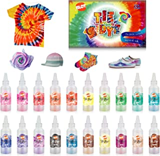 Tie Dye DIY Kit 20 Colors Kids Shirt Fabric Dyes for Women with Rubber Bands Gloves Table Cover Wooden Clips for Party Sup...