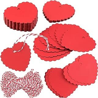 250 Piezas de Etiquetas de Papel Rojo Etiquetas de Regalo en Forma de Coraz/ón con Cordel y Agujero Etiqueta de Regalo Roja Kraft para Favores de Fiesta de D/ía de San Valent/ín Boda