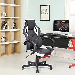 FurnitureR Silla de oficina Silla de juego de cuero para sil