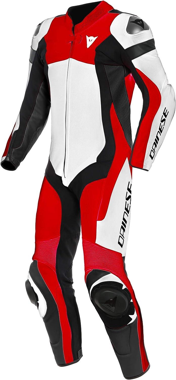 Dainese Assen 2 1 Teiler Perforierte Motorrad Lederkombi Weiß Rot Schwarz 60 Auto