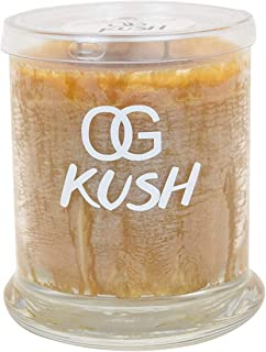 OG Kush Scented Candle (Medium) - Spicy Patchouli, Lemongrass, Orange and Pine - Natural Ingredients - Long Lasting - Revitalizing Aroma - Hemp Wick Candle - Safe and Clean Burning
