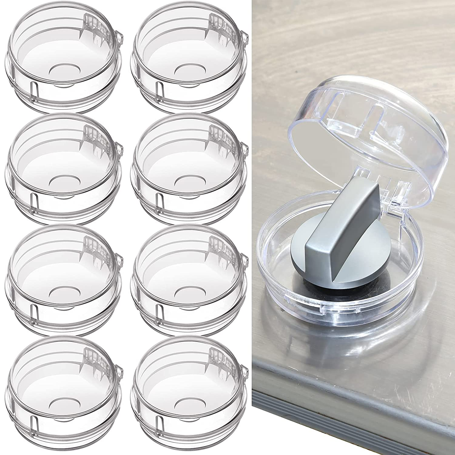 Transparent Stove Knob Covers Kitchen Gas Stove Knob Covers Safety Oven Knob Covers Toddler Child Proof Kitchen Safety Guard Easy to Install for Home Kitchen (8 Pieces)