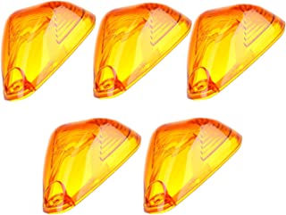 Cab Marker Lights Lens,Top Roof Clearance Lights Cover for Ford E-150/250/350/450/550 F-150/250/350/450/550 Super duty,Pack of 5 (Amber)