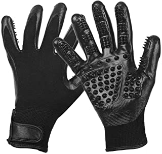 Pet Grooming Glove, Pet Massage Tool [Enhanced Five Fingers Design], Efficient Pet Hair Remover Mitt, Perfect for Dogs Cat...