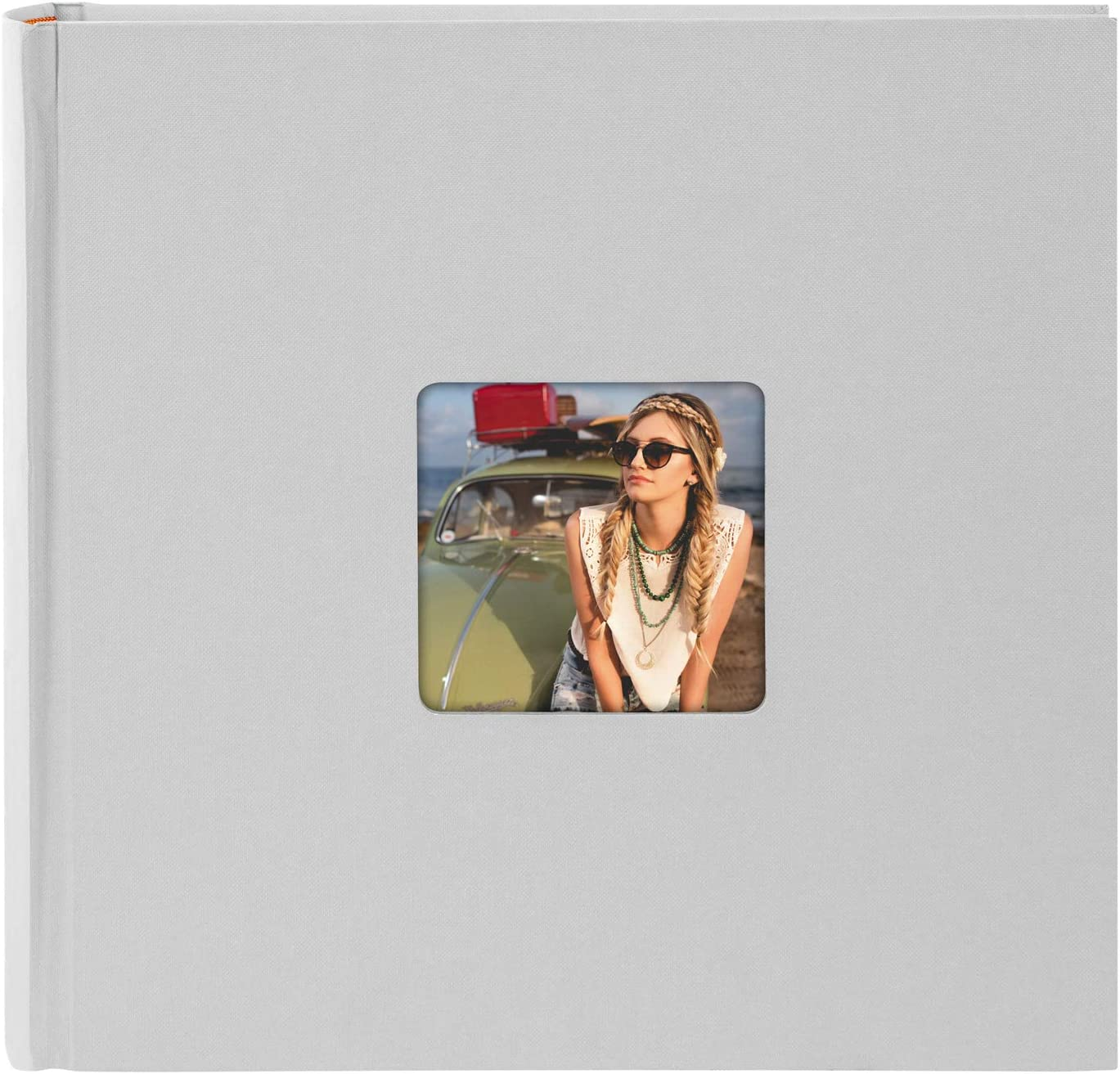 Photo Book with 36 White Pages with Parchment Dividers Approx Photo Album for Gluing in Linen Look Memory Album with Picture Cut-Out goldbuch Living 19894 Photo Album Blue 21.5 x 16.5 cm