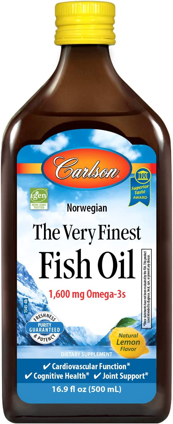 Carlson - The Very Finest Fish Oil, 1600 mg Omega-3s, Norwegian Fish Oil, Wild-Caught, Sustainably Sourced Fish Oil Liquid, Lemon, 16.9 Fl Oz