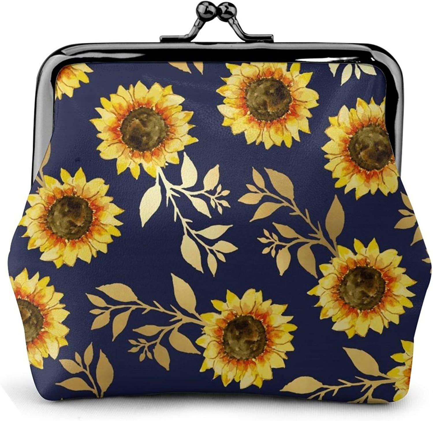 sunny yellow gold navy sunflowers Buckle Coin Purses Women's Kiss-lock Closure Mini Vintage Pouch Leather Hasp Makeup Wallets Card Holder Cute for Men Women Girls Bags