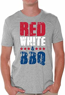 Awkward Styles Men's Red White and BBQ T Shirts Tops USA Flag 4th of July Party