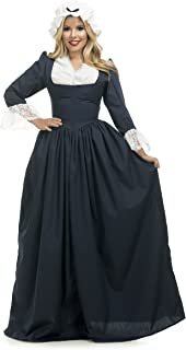 Charades Women's Colonial Woman Costume Dress, Navy, X-Large