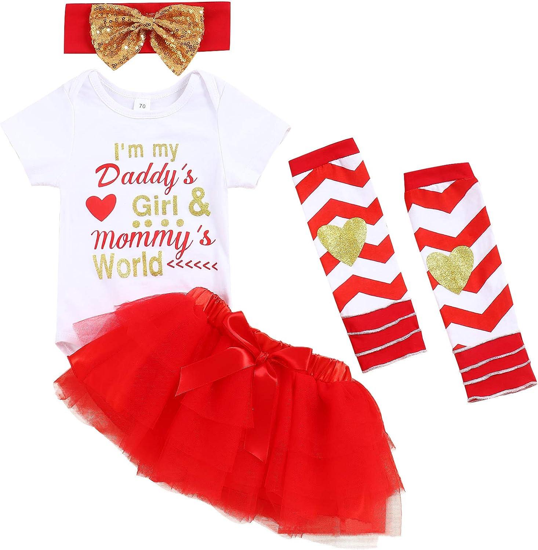 KISSB Baby Girl Clothes Mommy Girl Outfits Short Sleeve Romper Tutu Skirt Leg Warmers Headband 4PCs Dress Set