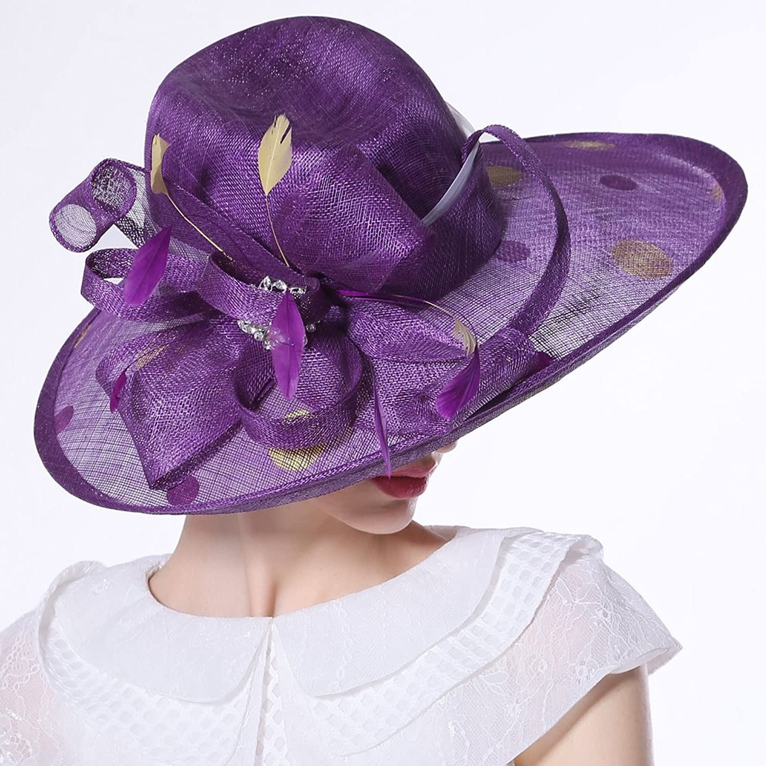 June's Young Women Hats Sinamay Hats Delicate Floral Diamond feather Sinamay Elegant Lady Fedoras