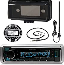 Kenwood MP3/USB/AUX Marine Boat Yacht Stereo Receiver Bundle Combo With Protective Cove, Wired Remote Control, Enrock Water Resistant 22 Radio Antenna, Outdoor Rubber Mast 45