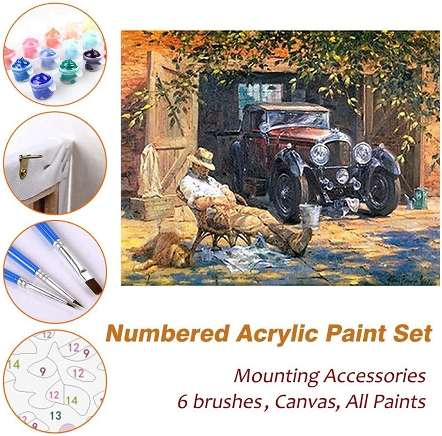 Puzzle House Paint Max Paint By Numbers Kits For Kids Adults Beginner Teens Pine Framed DIY Oil Acrylic Painting Paint Art Brush Sets, Country Nap 527 (color   With Pine Frame, Size   500mm x 650mm)