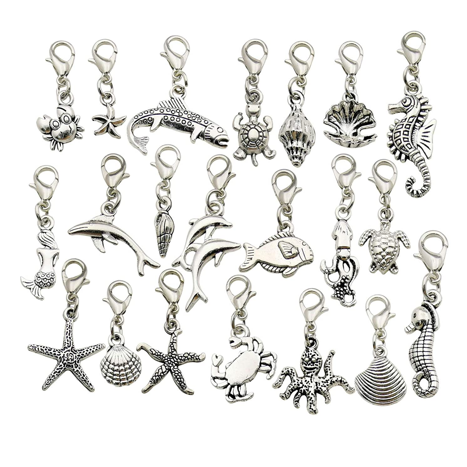 WOCRAFT 20pcs Craft Supplies Handmade Assorted Marine Life Ocean Fish Dangle Charms Pendant with Lobster Clasp for Jewelry Making Accessory Fit Floating Locket Charms Necklaces M302