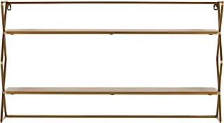 Amazon Brand – Rivet Modern 2-Tier Floating Bookcase Shelf Unit - 18 x 32 x 6 Inch, Natural Wood and Gold
