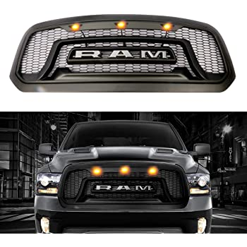 Matte Black Rebel Style Haitzu Mesh Front Grill for 2013-2018 Dodge Ram 1500 Front Grill with Amber LED Lights and Replaceable Letters