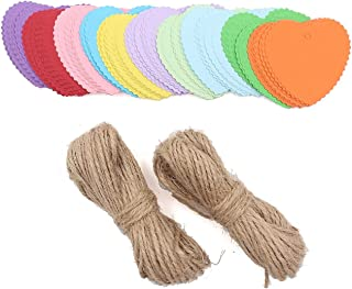 WARMBUY 150 Piece Colorful Paper Gift Tags with 50 Feet Natural Jute Twine, Heart Shaped, 10 Bright Colors