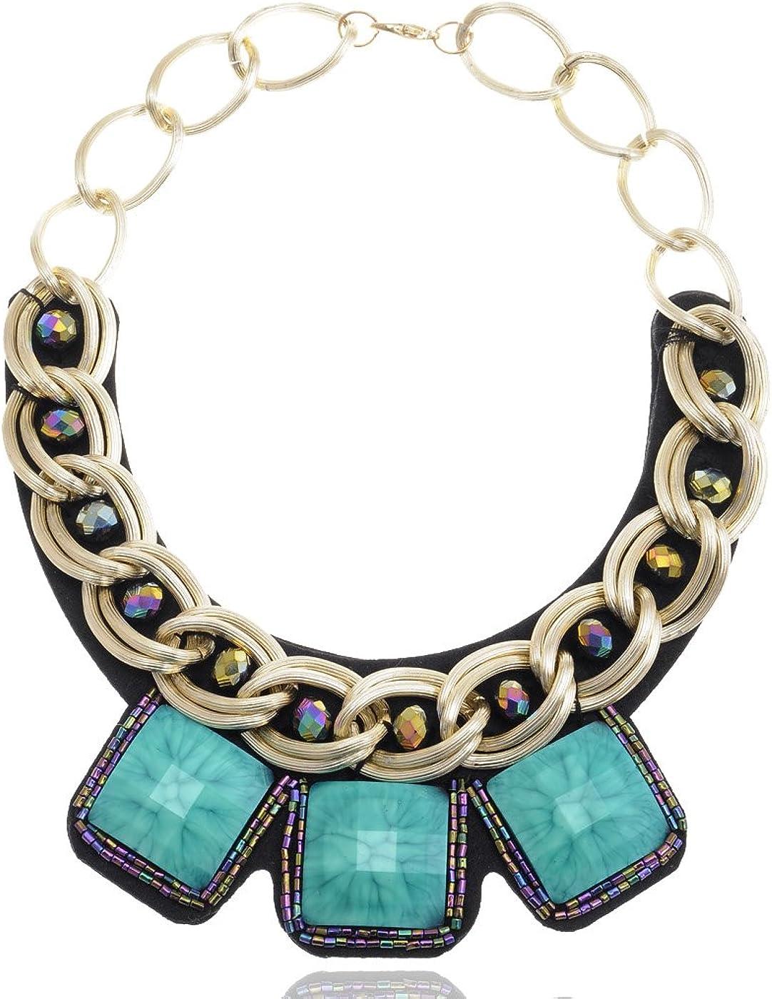 ALILANG Golden Tone Large Chain Turquoise Gem Rhinestones Beaded Tribal Bib Collar Necklace