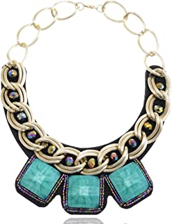 Alilang Uniquely Beaded Collar Necklace With Adjustable Locking Golden Toned Closure