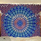 Indischer Hippie Bohemian Psychedelic Peacock Mandala Wandbehang Bettwäsche Tapisserie (Blue Green, Twin (54x72Inches)(140x185cms))