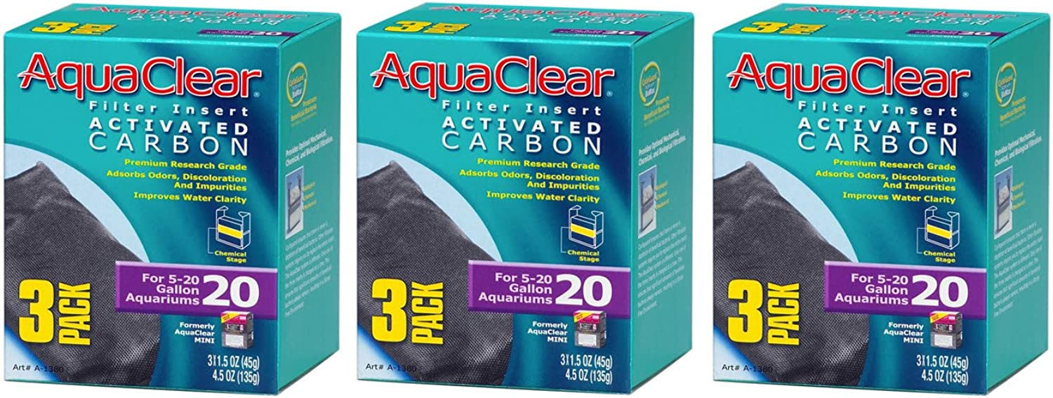 Aquaclear Activated Carbon Insert, 20Gallon Aquariums, 3Pack (3Pack)