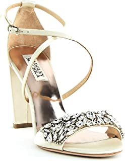 | Harper Block Heel Dress Sandals | Ivory Satin