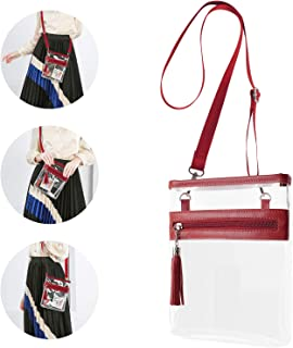 YanHao Clear Purse Fashion NCAA PGA NFL Stadium Approved Clear Bag Crossbody Transparent Bag with Tassel