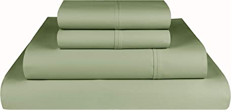Threadmill Home Linen 600 Thread Count 100% Cotton Sheets, 1CM Damask Stripe Beige, ELS Cotton Bed Sheets, Sateen Fits Mattress Up to 18'' Deep Pocket California King Green THM-600-SLD-Sage-CK