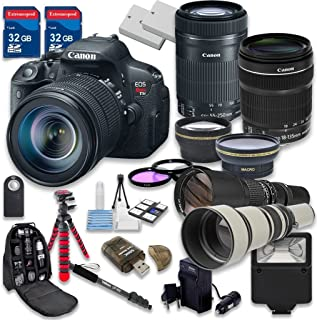 Canon EOS Rebel T5i 18.0 MP CMOS Digital Camera HD Video with Canon EF-S 18-135mm f/3.5-5.6 IS STM Lens + Canon EF-S 55-250mm f/4-5.6 IS STM Lens - International Version (No Warranty)